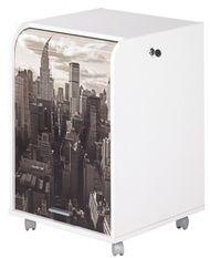 Caisson à rideau 2 tiroirs blanc imprimé New York Orga 70 cm