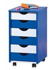 Caisson sur roulettes 6 tiroirs bois bleu et blanc Rubi