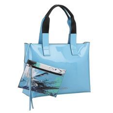 CALVIN KLEIN Sacs de courses en cuir verni K60K601562 - FLOW EW TOTE Bleu Femme