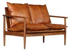 Canapé 2 places cuir véritable marron Great
