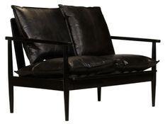 Canapé 2 places cuir véritable noir Great