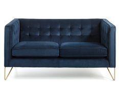 Canapé 2 places effet velours bleu et pieds métal doré Arkane
