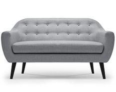 Canapé 2 places tissu gris clair et pieds bois noir Lalis
