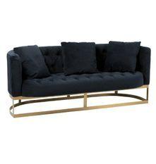 Canapé 2 places velours anthracite et pieds métal doré Ysarg