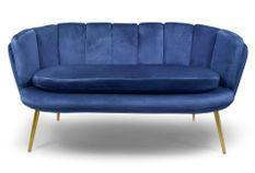 Canapé 2 places velours bleu et pieds métal doré Ranni
