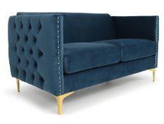 Canapé 2 places velours bleu et pieds métal doré Josua