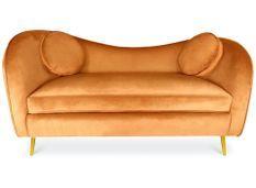 Canapé 2 places velours orange et pieds métal doré Altesse