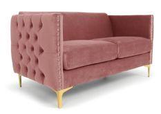 Canapé 2 places velours rose et pieds métal doré Josua