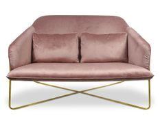 Canapé 2 places velours rose et pieds métal doré Luciole 130 cm