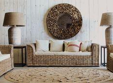 Canapé 3 places rotin clair et assise tissu beige Madir