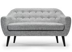 Canapé 3 places tissu gris clair et pieds bois noir Lalis
