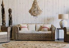 Canapé 4 places rotin clair et assise tissu beige Rizaz