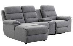 Canapé d'angle gauche relax manuel 3 places tissu gris chiné avec appuis tête Helane