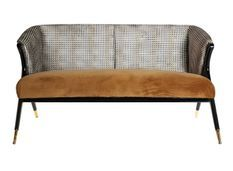 Canapé art déco velours moutarde et bois d'hévéa noir Bari 140 cm