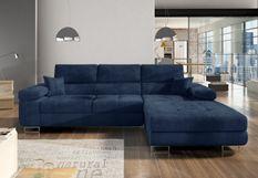 Canapé convertible d'angle droit tissu bleu marine Wile 280 cm