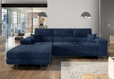 Canapé convertible d'angle gauche tissu bleu marine Wile 280 cm