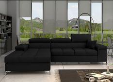 Canapé convertible d'angle gauche tissu noir Rika 280 cm