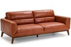 Canapé cuir de vachette marron 3 places Mura