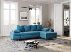 Canapé d'angle convertible droit scandinave tissu bleu Kopal 272 cm