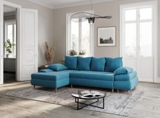 Canapé d'angle convertible gauche scandinave tissu bleu Kopal 272 cm