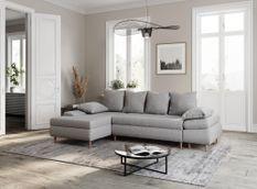 Canapé d'angle convertible gauche scandinave tissu gris Kopal 272 cm