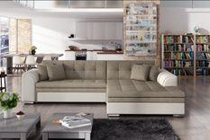 Canapé d'angle droit convertible 4 places tissu et simili beige Looka 295 cm