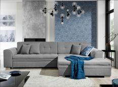 Canapé d'angle droit convertible 4 places tissu gris clair Looka 295 cm