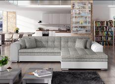 Canapé d'angle droit convertible 4 places tissu gris chiné et simili blanc Looka 295 cm