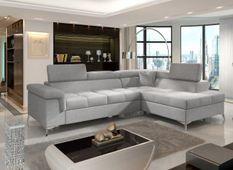 Canapé d'angle droit convertible tissu gris clair Marido 275 cm
