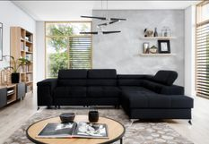 Canapé d'angle droit convertible tissu noir Marido 275 cm