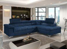 Canapé d'angle droit convertible velours bleu foncé Marido 275 cm