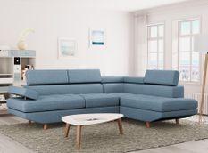 Canapé d'angle droit scandinave avec appuis têtes tissu bleu clair Santra 262 cm