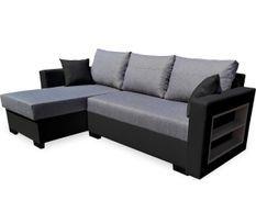 Canapé d'angle gauche convertible tissu gris clair et simili cuir noir Kami L 230 cm