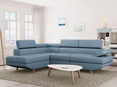 Canapé d'angle gauche scandinave tissu bleu clair Santra 262 cm