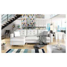 Canapé d'angle réversible convertible simili cuir blanc Agrad
