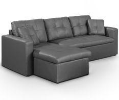 Canapé d'angle réversible convertible simili cuir gris Cuba 230 cm