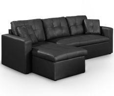 Canapé d'angle réversible convertible simili cuir noir Cuba 230 cm