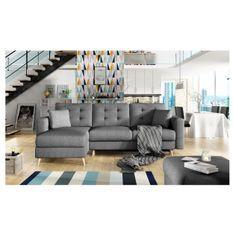 Canapé d'angle réversible convertible tissu gris foncé Agrad