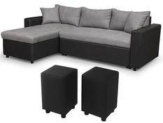 Canapé d'angle réversible simili noir et microfibre gris et 2 poufs Zunka 223 cm