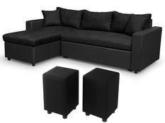 Canapé d'angle réversible simili noir et microfibre noir et 2 poufs Zunka 223 cm