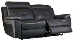 Canapé de relaxation 3 places électrique Cuir Gris foncé et Gris Corsa