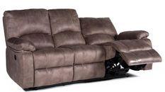 Canapé de relaxation 3 places électrique Microfibre Marron avec surpiqûre Kuni