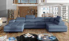 Canapé design panoramique U convertible droit tissu bleu jean avec coffre de rangement Romano