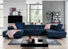 Canapé design panoramique U convertible droit tissu bleu marine avec coffre de rangement Romano
