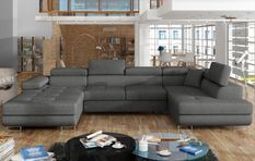 Canapé design panoramique U convertible droit tissu gris foncé avec coffre de rangement Romano