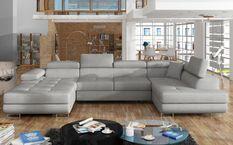 Canapé design panoramique U convertible droit tissu gris souris avec coffre de rangement Romano