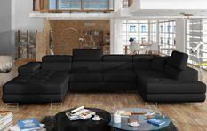 Canapé design panoramique U convertible droit tissu noir avec coffre de rangement Romano