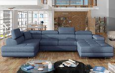 Canapé design panoramique U convertible gauche tissu bleu jean avec coffre de rangement Romano