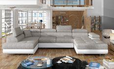 Canapé design panoramique U convertible gauche tissu gris chiné et simili blanc avec coffre de rangement Romano