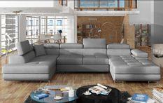 Canapé design panoramique U convertible gauche tissu gris clair avec coffre de rangement Romano